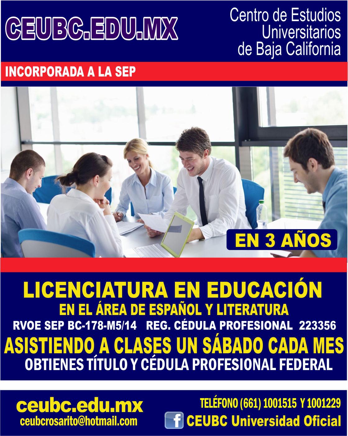 RVOE oficial: Lic. en Educación en el Área de Español y Literatura