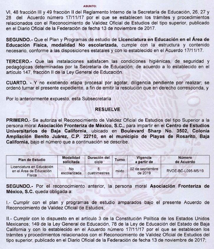 RVOE oficial: Licenciatura en en Educación en el Área de Educación Física