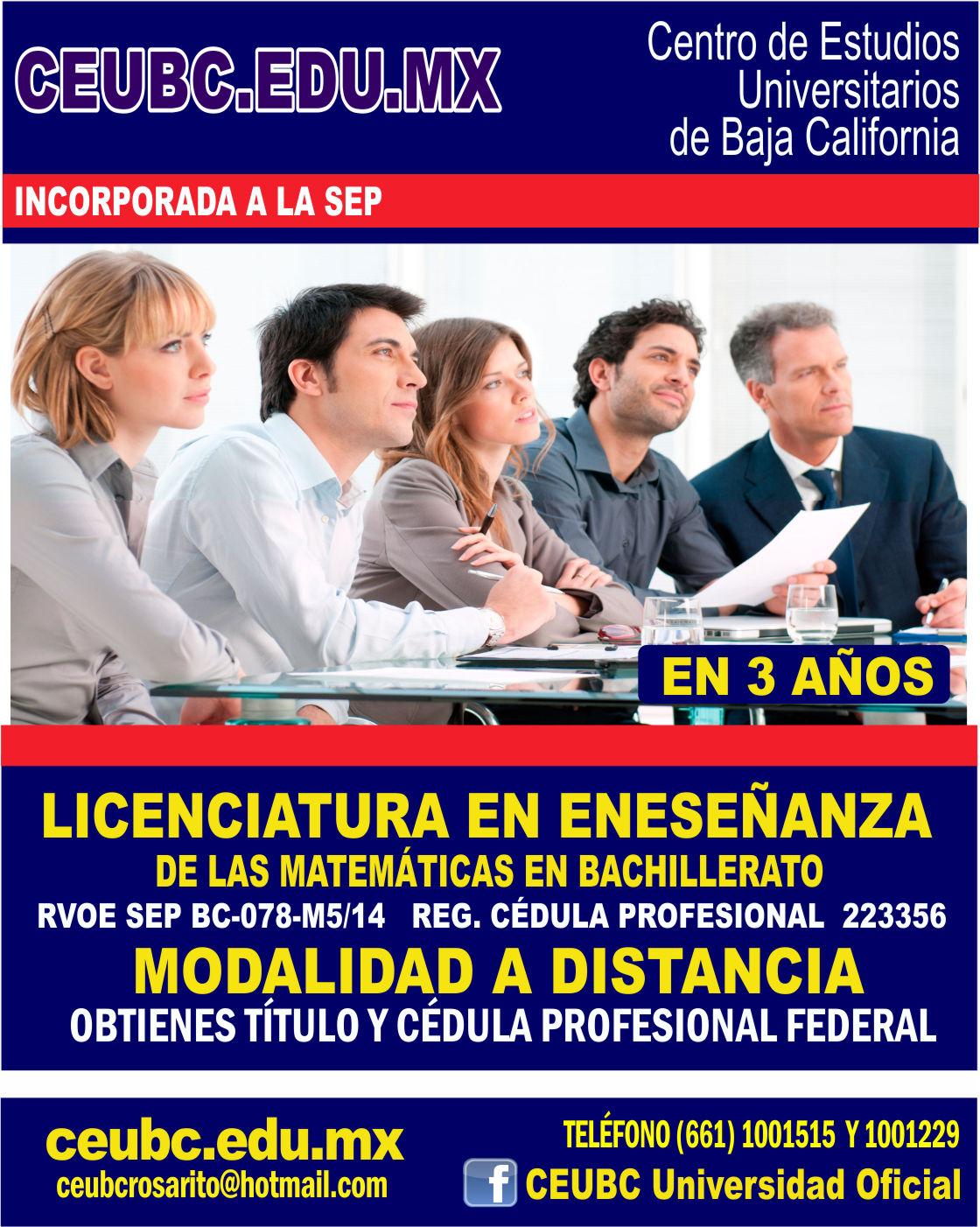 RVOE oficial: Licenciatura en Educación en el Área de Matemáticas