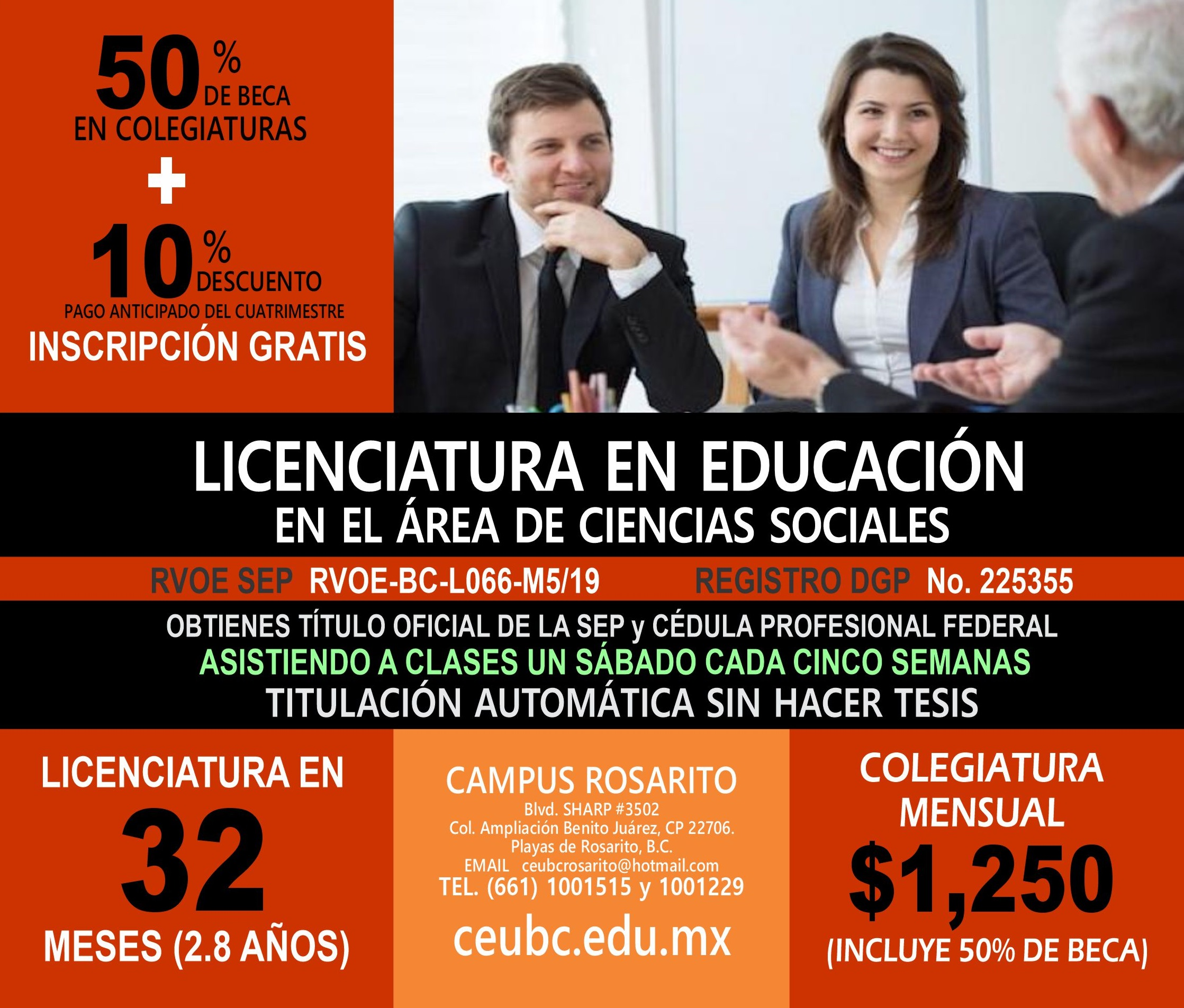 RVOE oficial: Licenciatura en Educación en el Área de Ciencias Sociales
