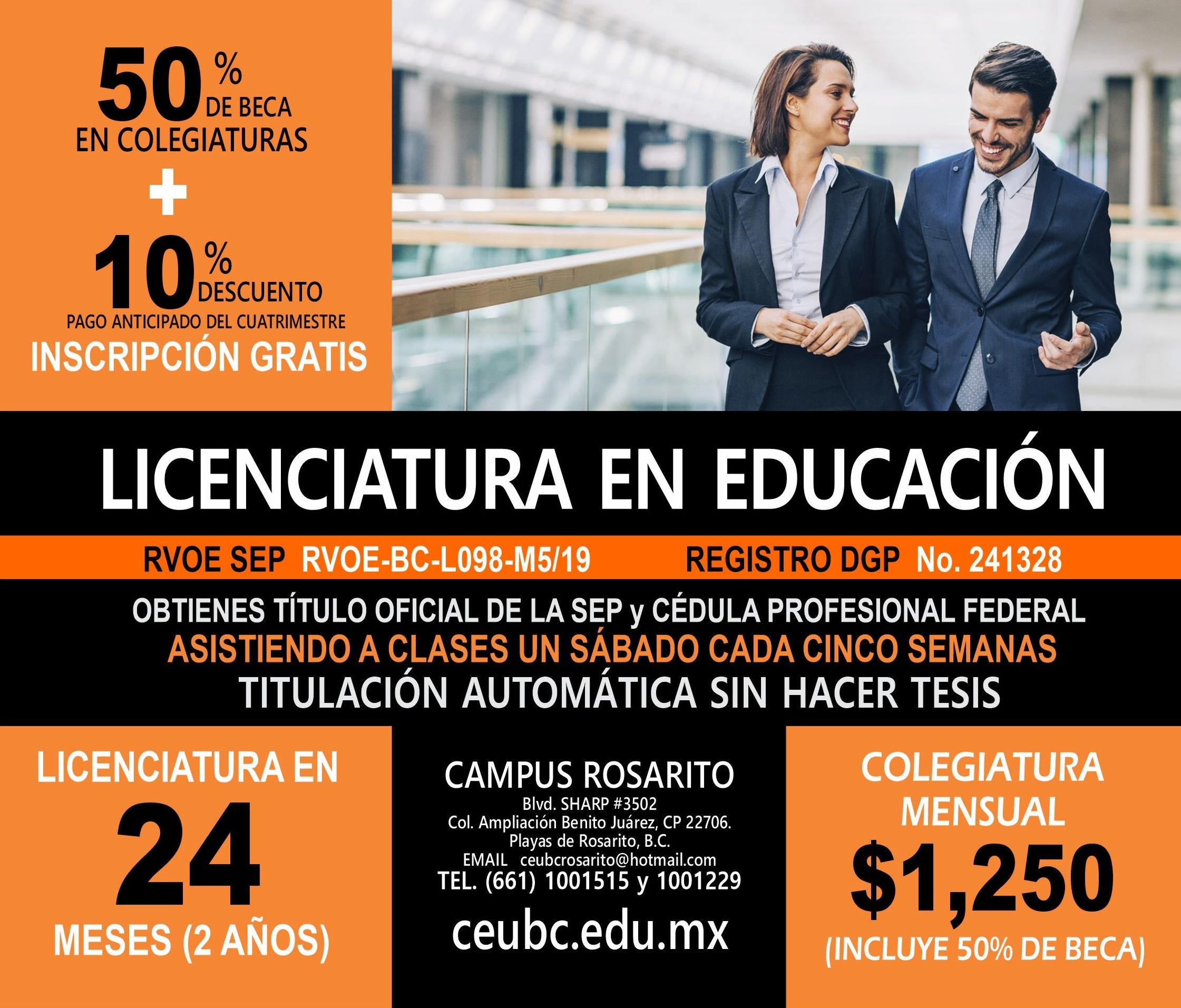 RVOE oficial: Licenciatura en Educación