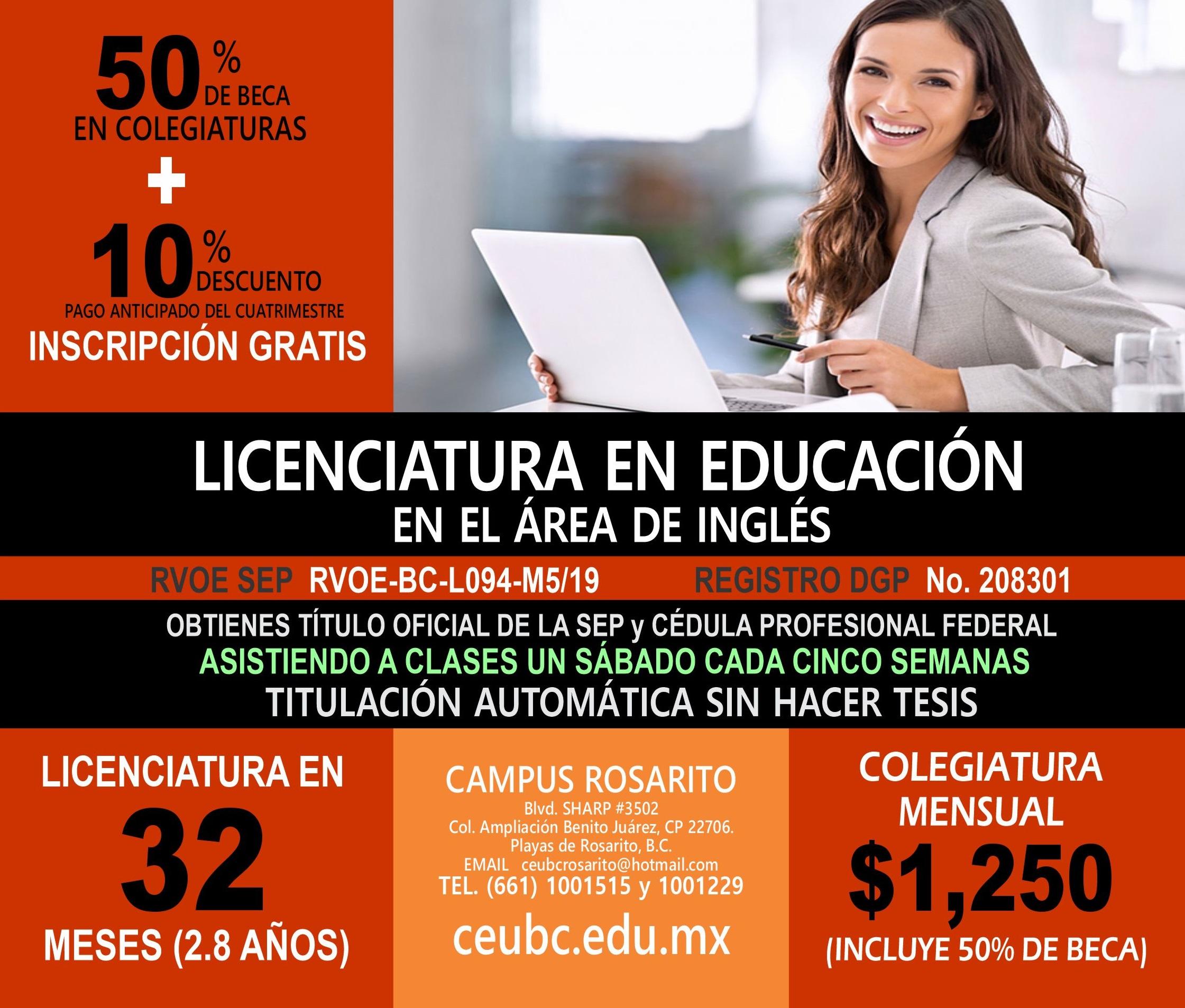 RVOE oficial: Licenciatura en Educación en el Área de Inglés
