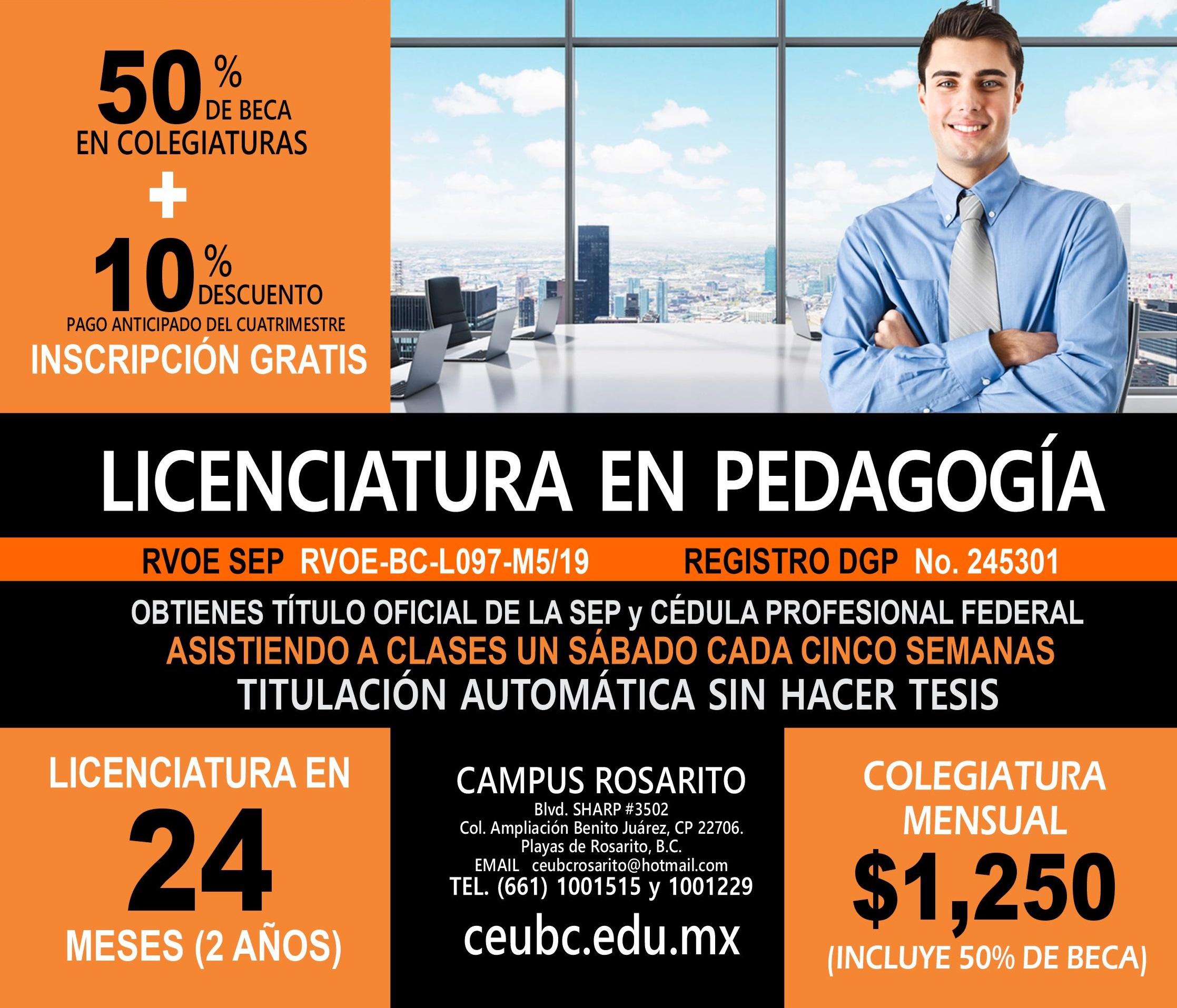 RVOE oficial: Licenciatura en Pedagogía