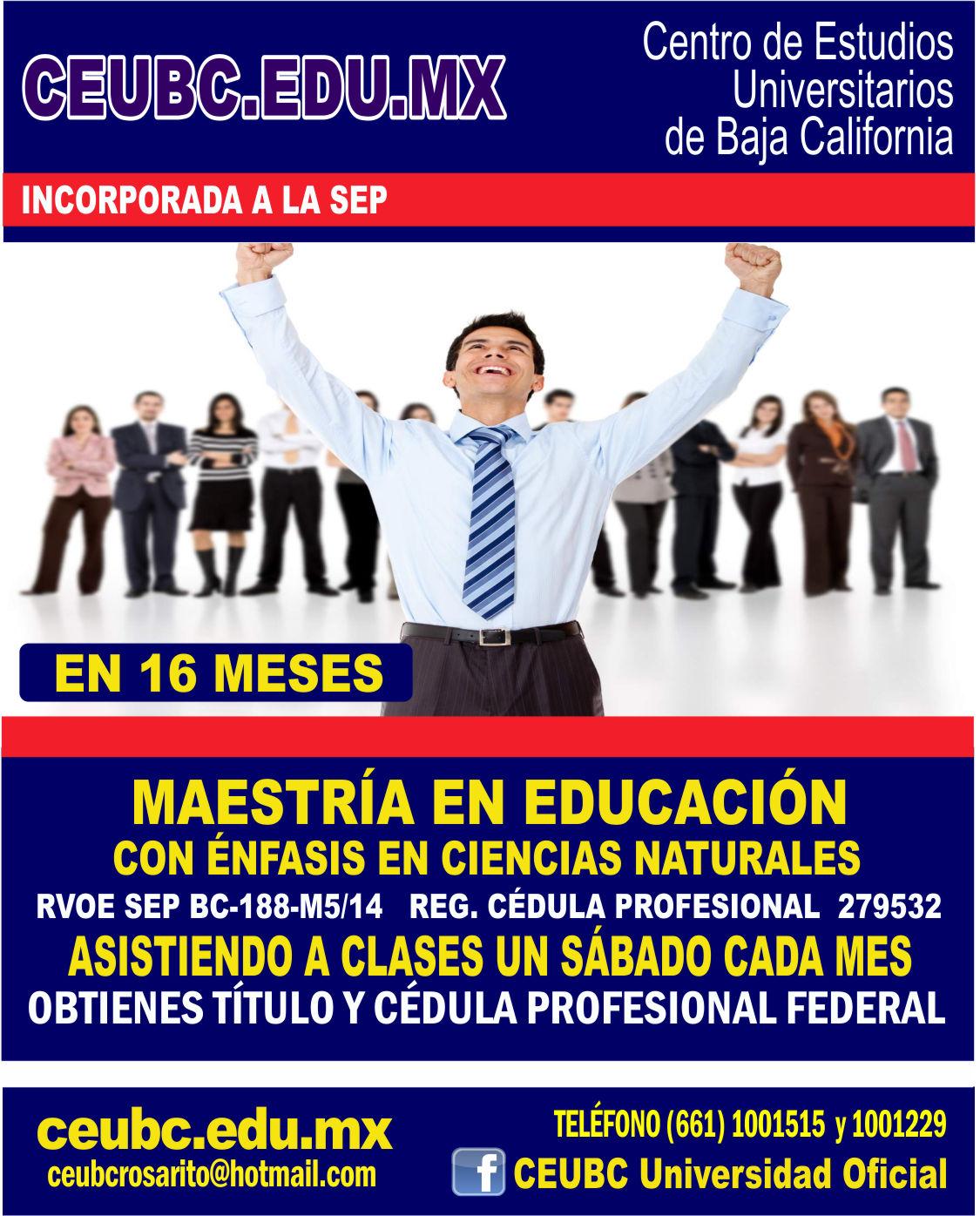 RVOE oficial: Maestría en Educación con Énfasis en Ciencias Naturales