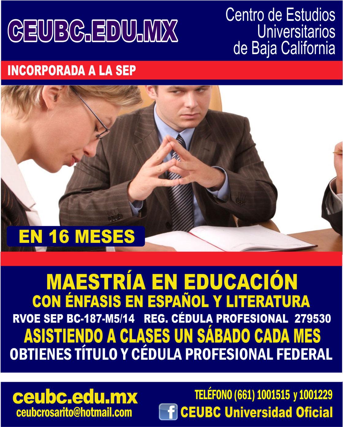 RVOE oficial: Maestría en Educación con Énfasis en Español y Literatura