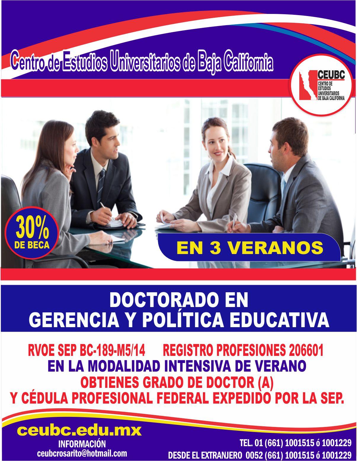 RVOE oficial: Doctorado en Gerencia y Política Educativa