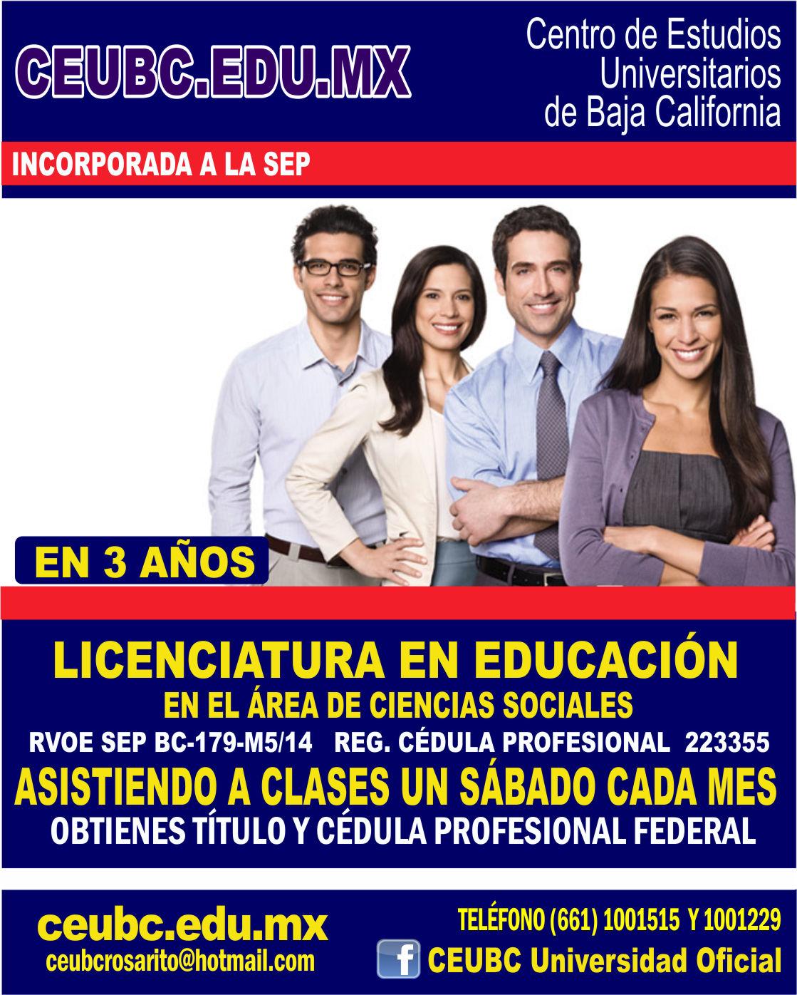 RVOE oficial: Lic. en Educación en el Área de Ciencias Sociales